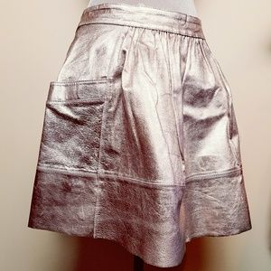 Rose Gold Vegan Leather Skater Mini Skirt Pockets